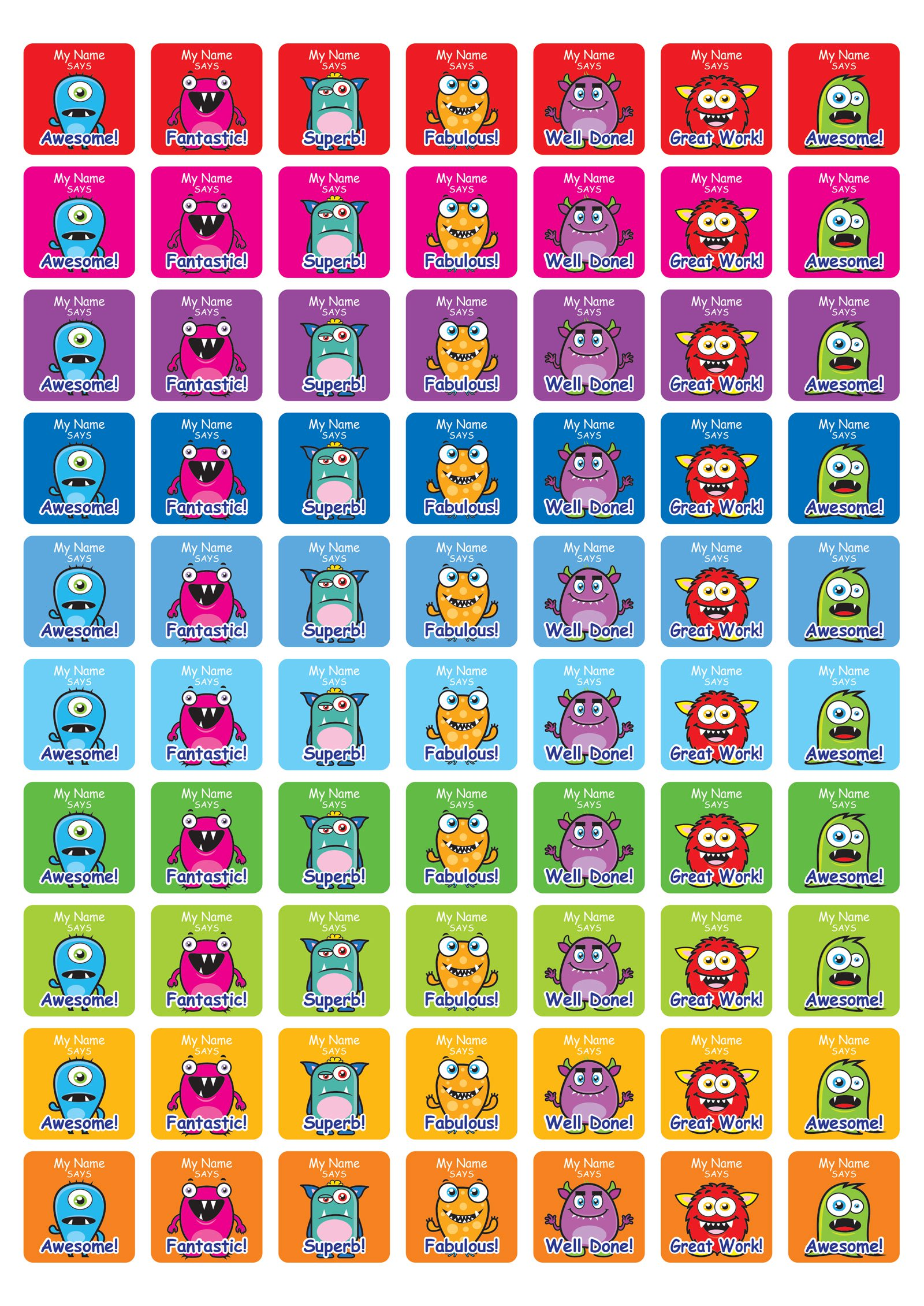 25mm square personalised cute monster stickers