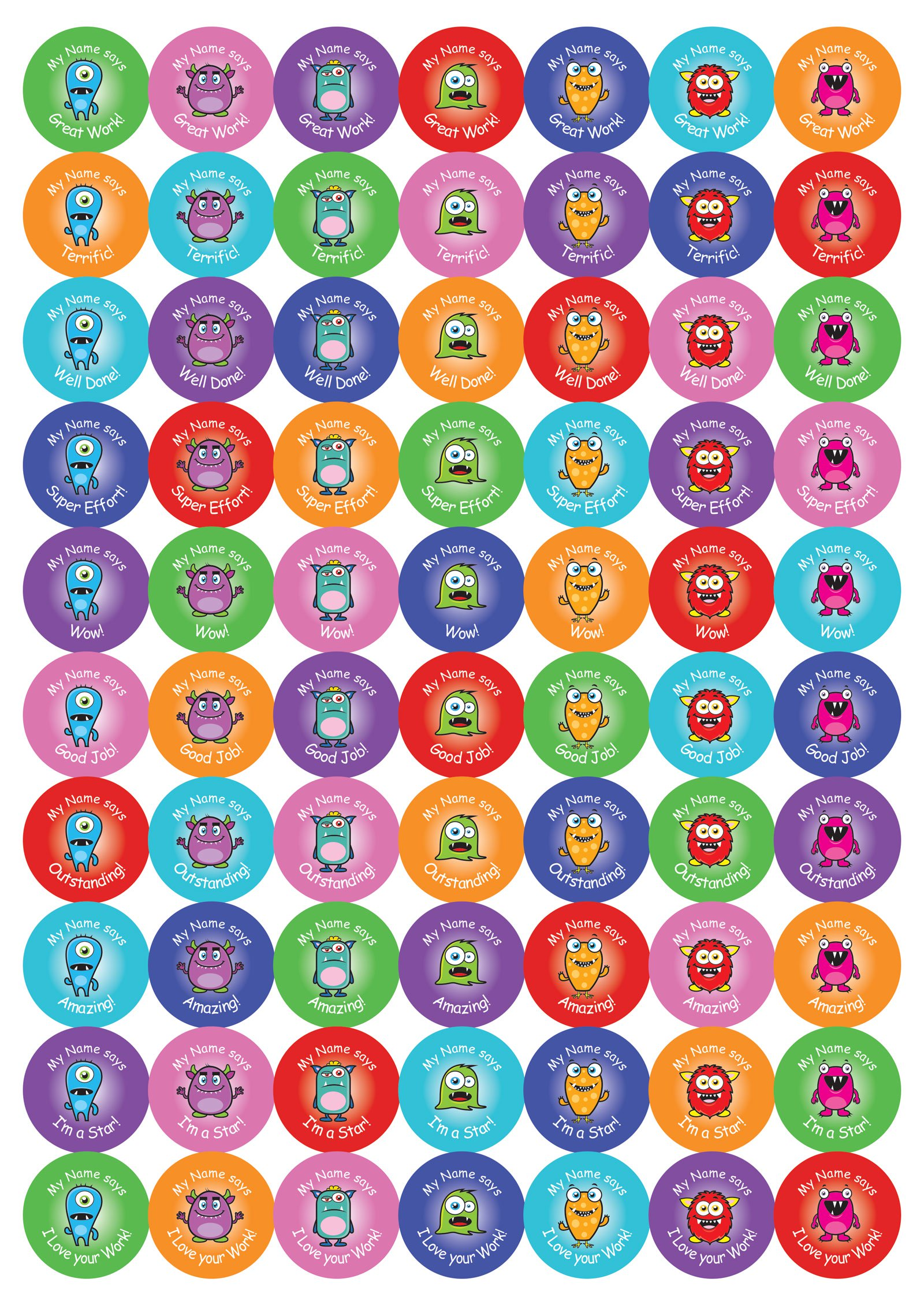 25mm Round Personalised cute monster stickers