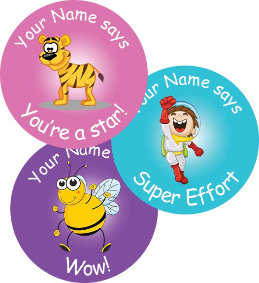 Teacher merit stickers 25mm assorted images personalised name