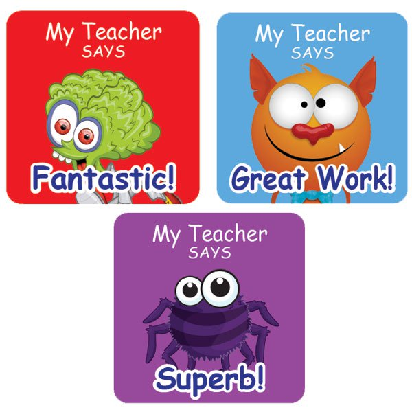 PErsonalised square award stickers - Teacher Stickers