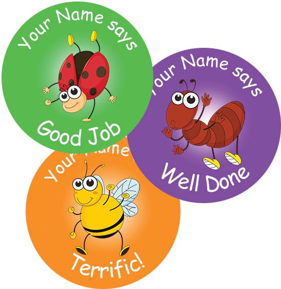 Teacher merit stickers 25mm insect theme personalised name teacher stickers australia