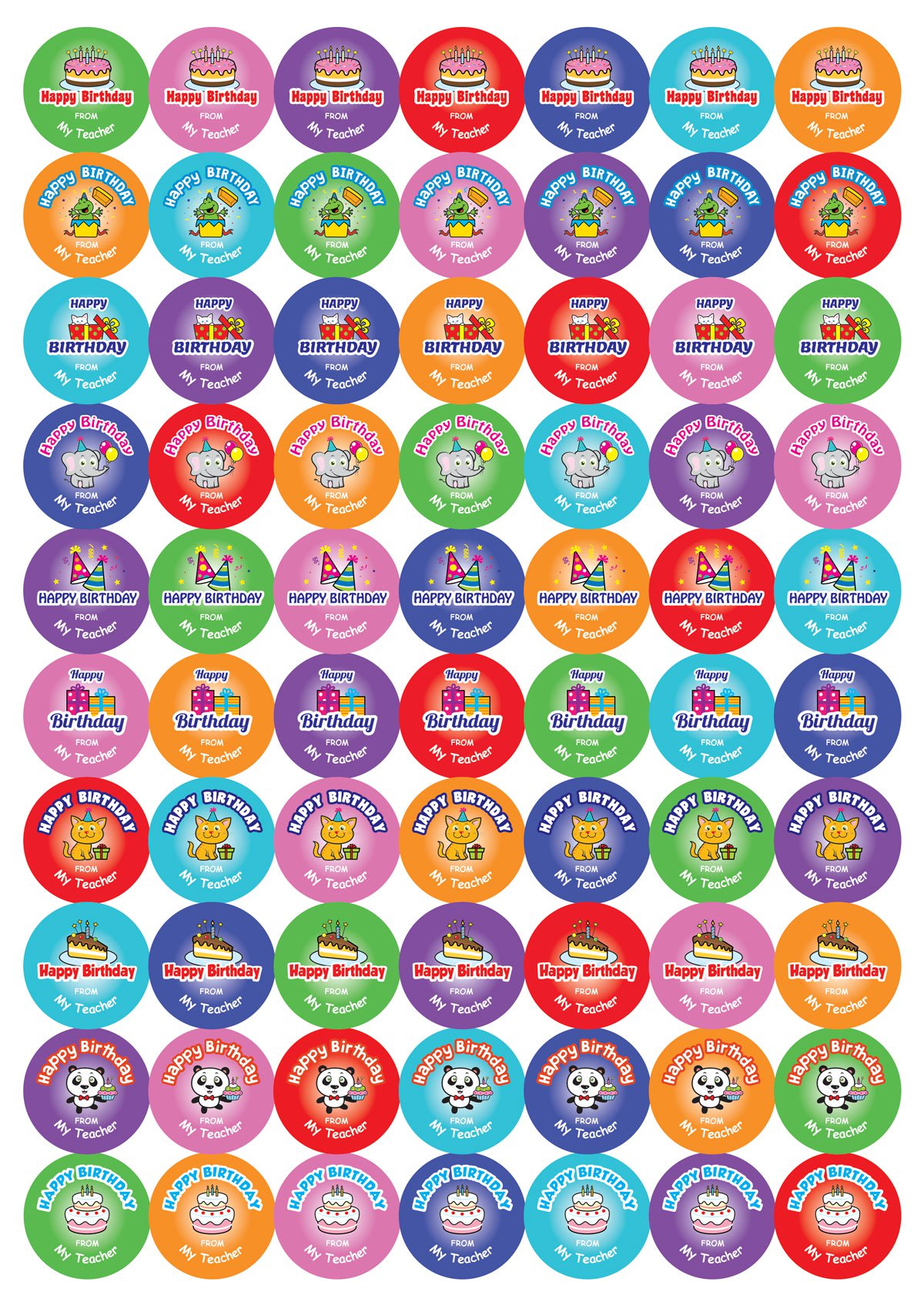 25mm Round Personalised Cute Birthday stickers