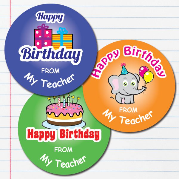 Personalised birthday stickers 25mm round