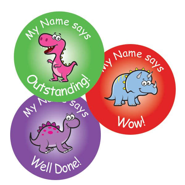 Teacher merit stickers 25mm cute dinosaur theme personalised name