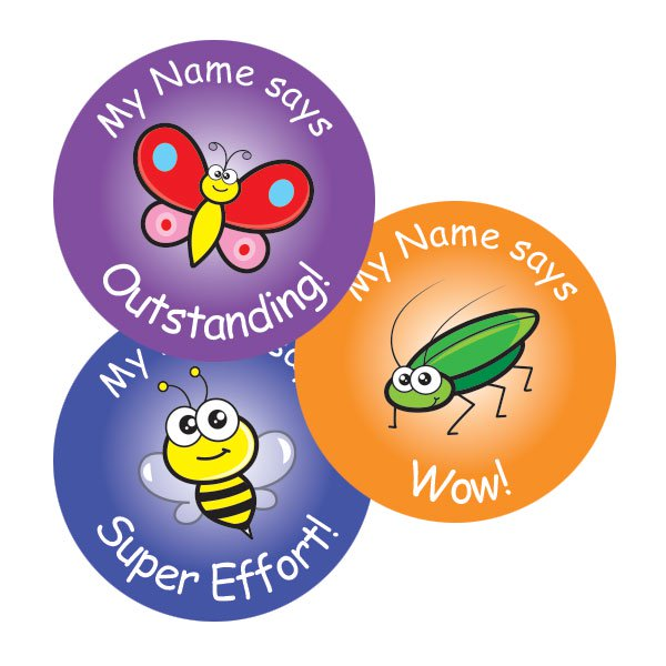 Personalised insect themed stickers