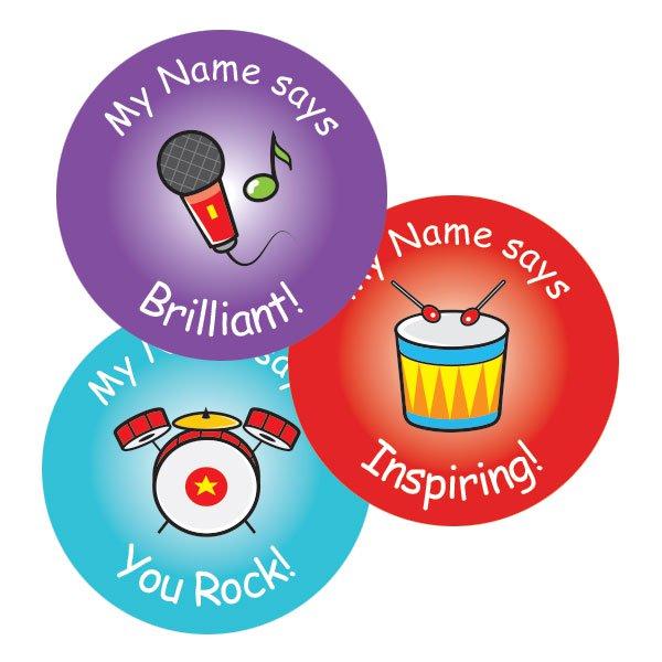 Teacher merit stickers 25mm music theme personalised name teacher stickers australia