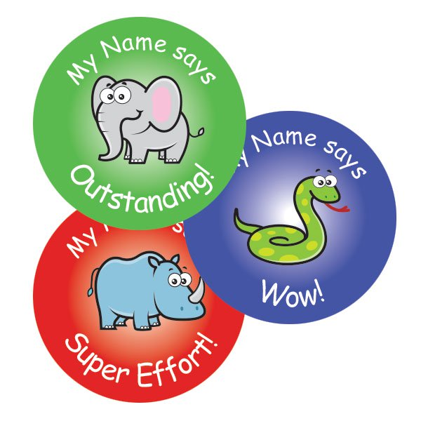 Teacher merit stickers 25mm cute zoo theme personalised name teacher stickers australia