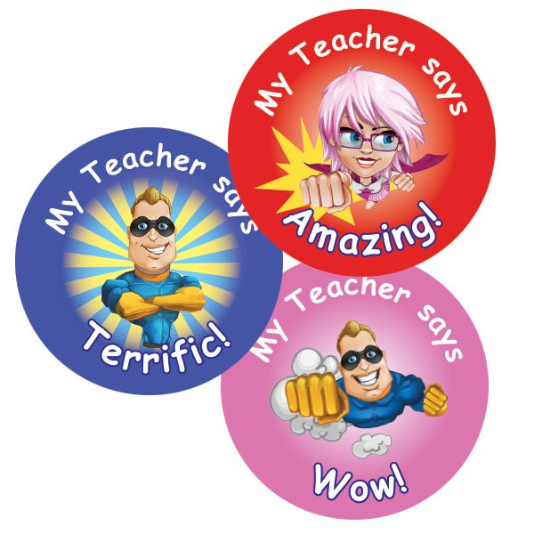Teacher merit stickers 25mm superhero theme personalised name teacher stickers australia