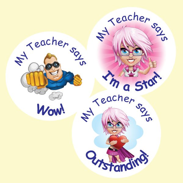 Teacher merit stickers 25mm superhero action theme personalised name teacher stickers australia