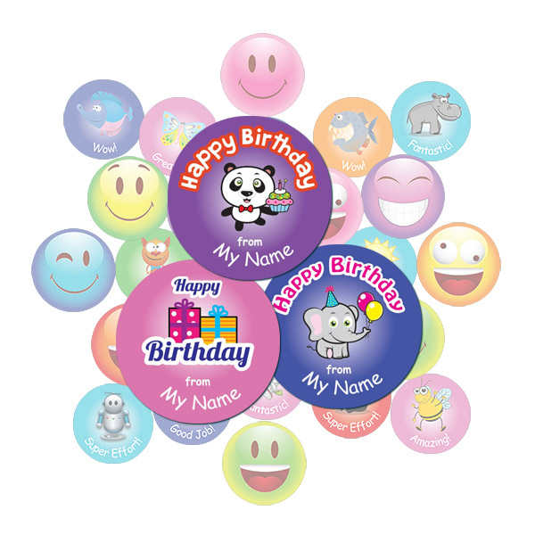 Cute Birthday Round Sticker Gift Pack