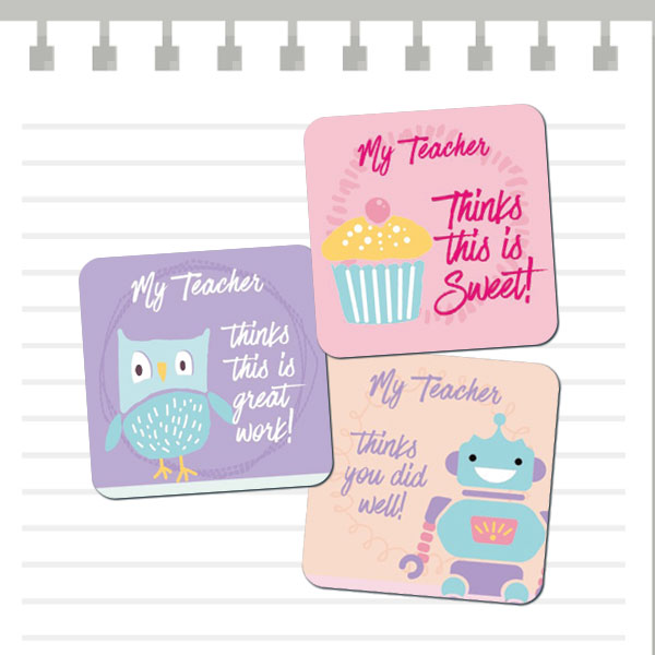 25mm Square Pastel Cute stickers