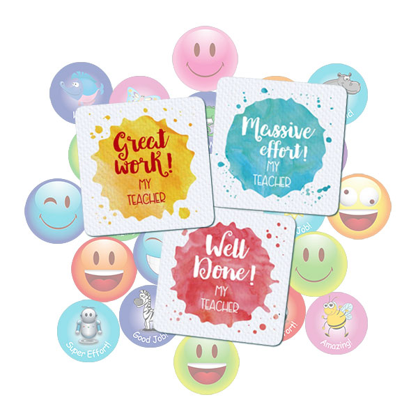25mm Square Watercolour Splat Sticker gift pack