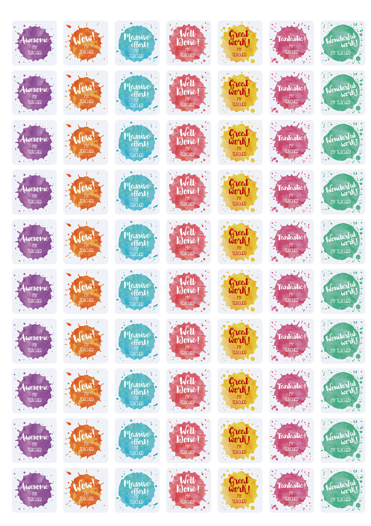 25mm Square Watercolour Splat stickers
