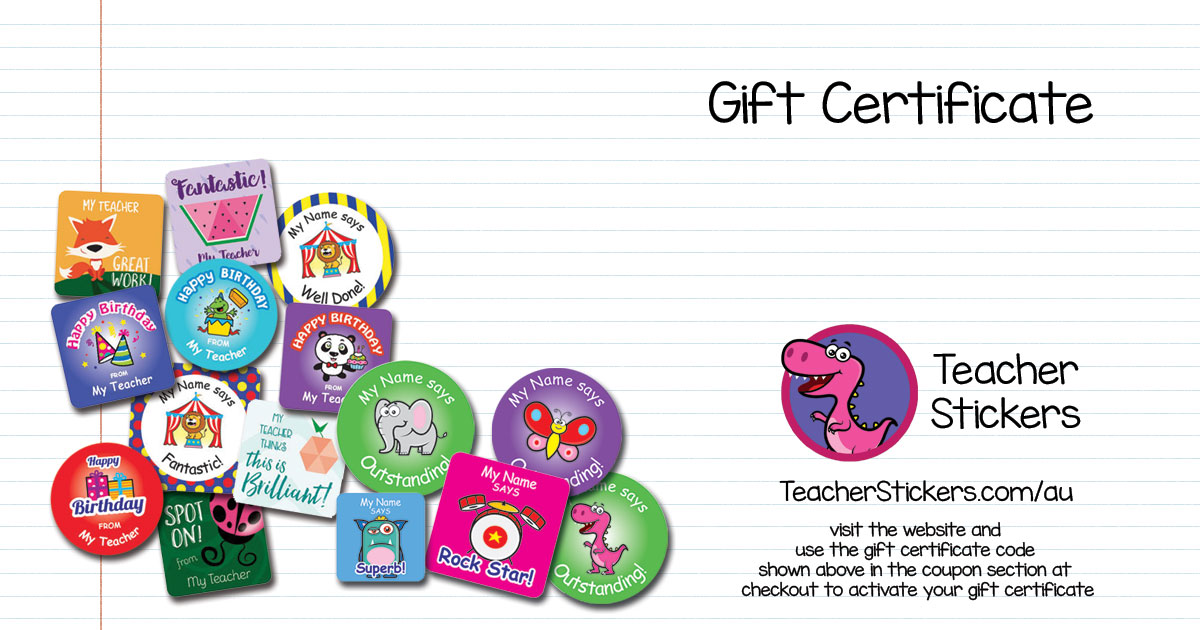 Teacher Stickers gift certificate