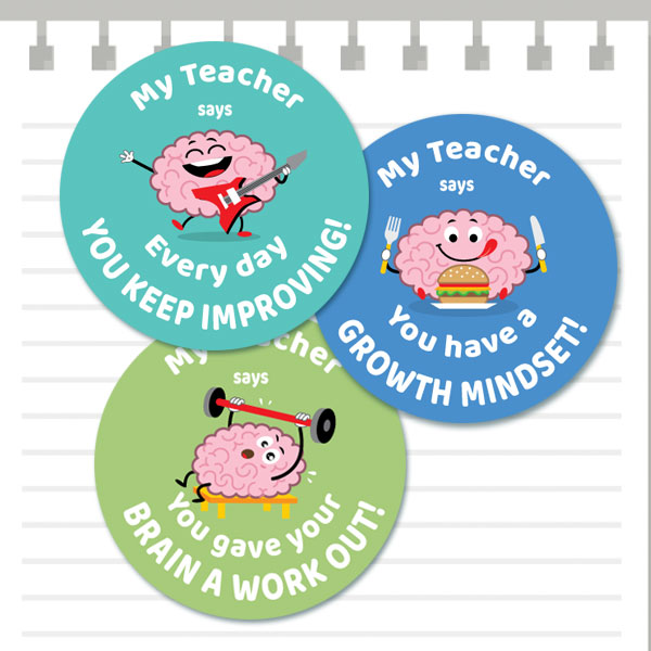 Growth mindset cute brain stickers from teacher stickers