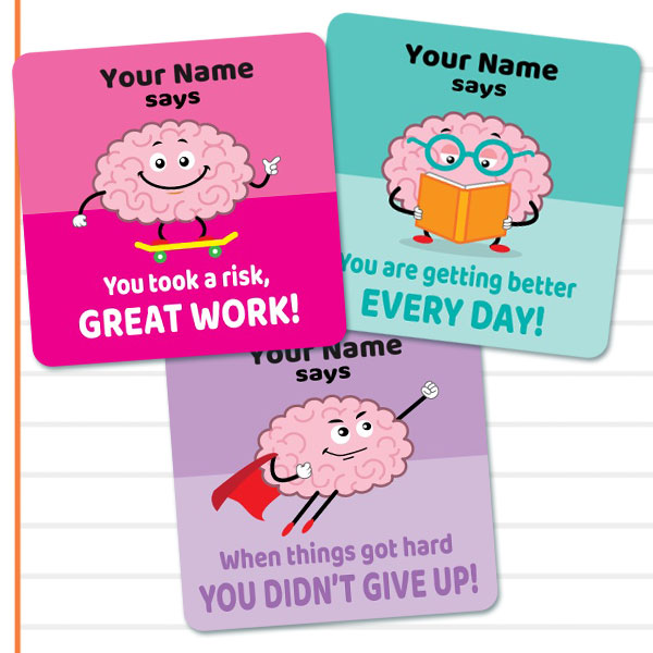 Growth Mindset, Square personalise stickers
