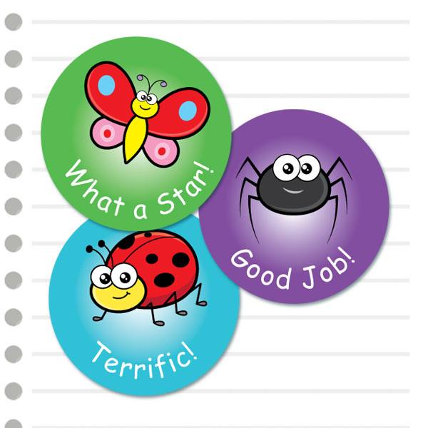 Round cute insect themed stickers from Teacher Stickers