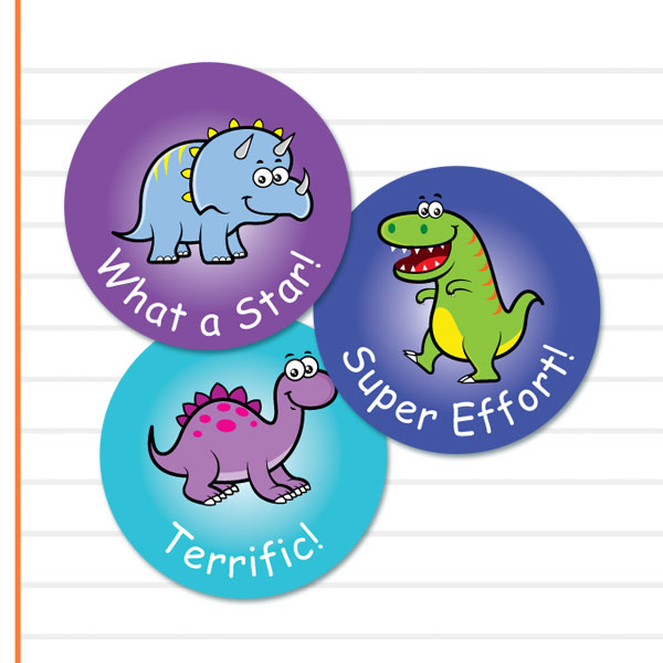 Rounud Cute Dinosaur themed stickers from Teacher Stickers