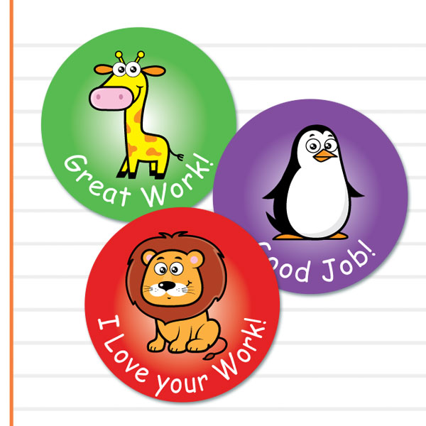 Round Cute Zoo themed stickers from Teacher Stickers
