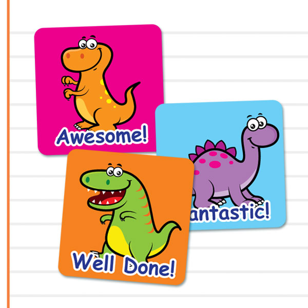Square Cute Dinosaur themed stickers from Teacher Stickers