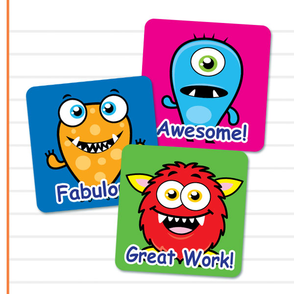 Teacher merit stickers 25mm square cute monster theme
