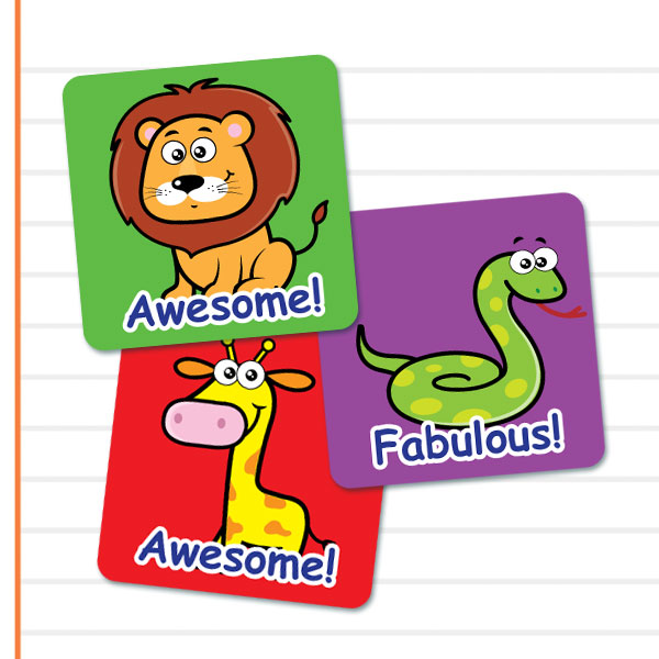 Square Cute Zoo stickers from Teacher Stickers