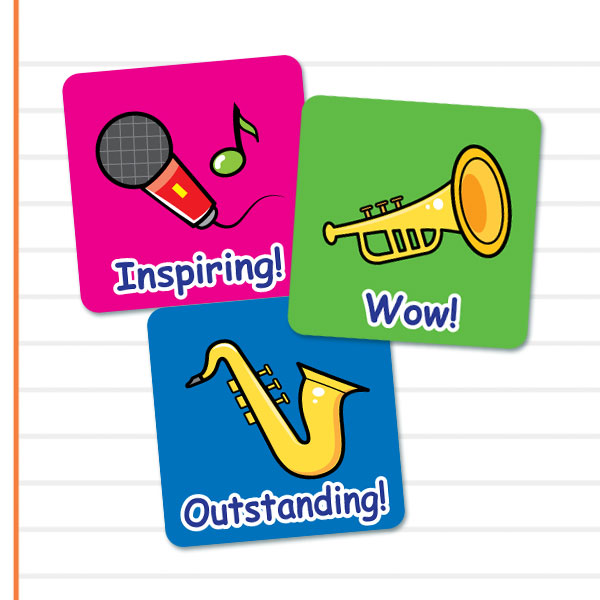 Square Music themed stickers from Teacher Sticker