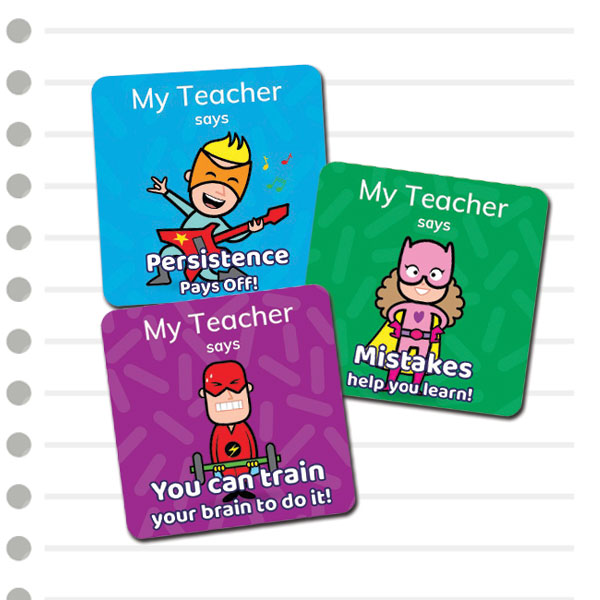 Growth Mindset stickers with super hero images