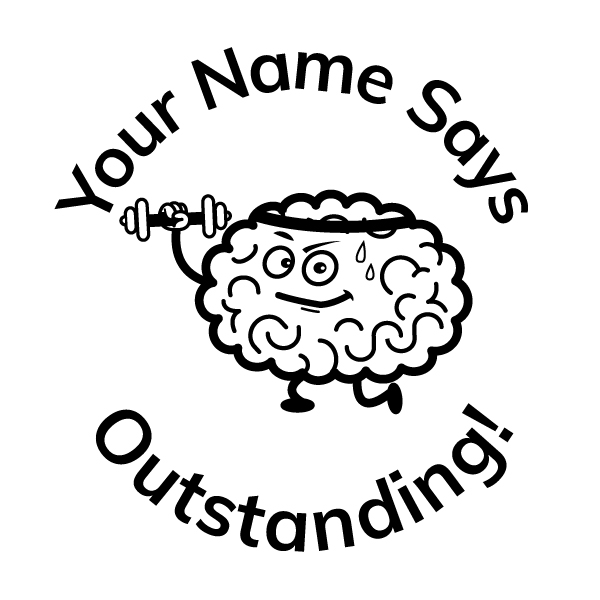 Teacher Stickers Stamp - Brain Theme 10_ Outstanding!