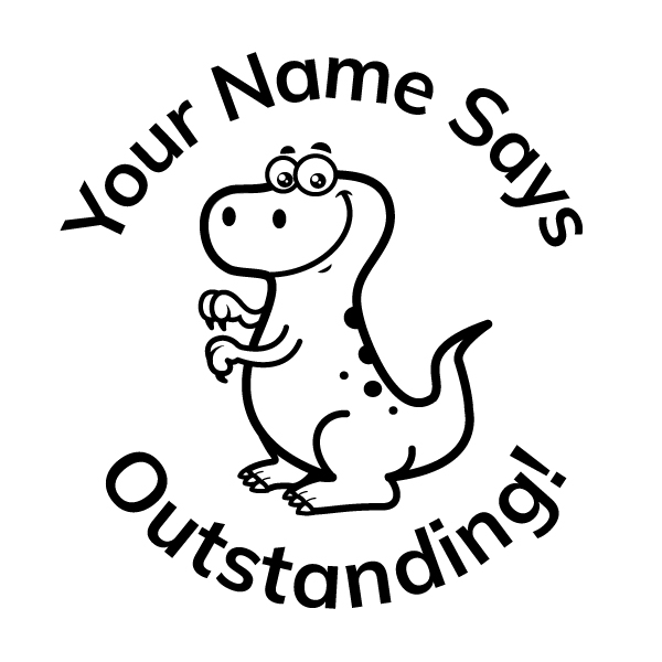 Teacher Stickers Stamp - Dinosaur Theme 1_ Outstanding!