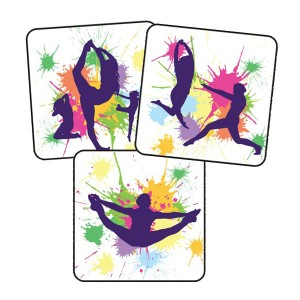 Dance silhouette 25mm square stickers
