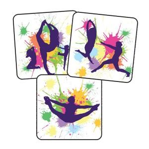 Dance silhouette 25mm square stickers