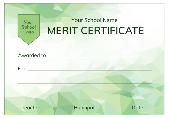 Modern Green Merit Certificate from Teacher Stickers