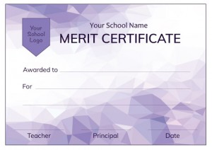 Modern Purple Merit Certificate from Teacher Stickers