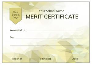 Modern Yellow Merit Certificate from Teacher Stickers