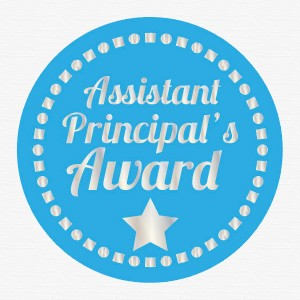 Assistant Principal award 45mm silver foil preview from Teacher Stickers