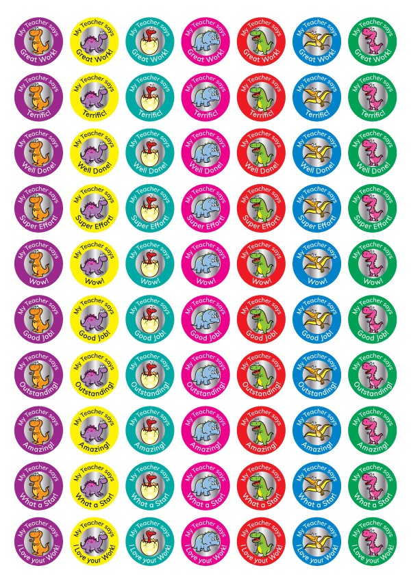 25mm Dinosaur theme personalised foil stickers from Teacher Stickers