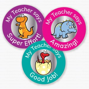 25mm Dinosaur theme personalised foil sticker preview from Teacher Stickers