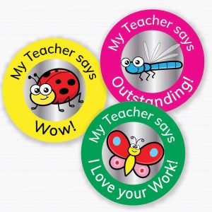 25mm Insect theme personalised foil sticker preview from Teacher Stickers