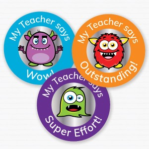 25mm Monster theme personalised foil sticker preview from Teacher Stickers