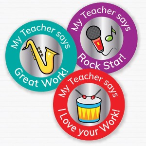 25mm Music theme personalised foil sticker preview from Teacher Stickers