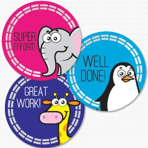 30mm Zoo theme foil stickers preview from Teacher Stickers