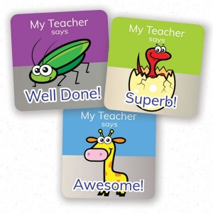 personalised square 25mm foil stickers assorted theme from Teacher Stickers
