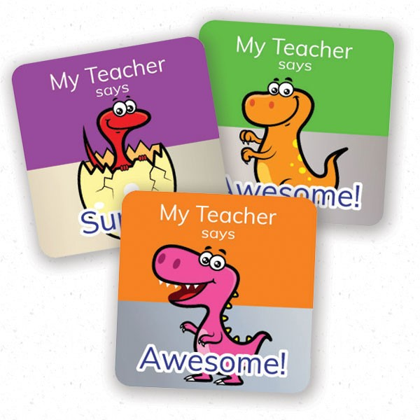 personalised square 25mm foil stickers dinosaur theme from Teacher Stickers