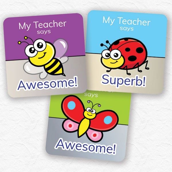 personalised square 25mm foil stickers insect theme from Teacher Stickers