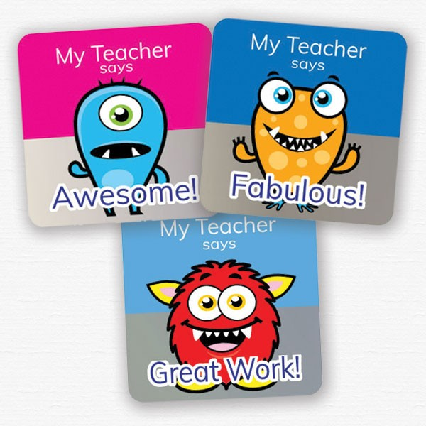 personalised square 25mm foil stickers monster theme from Teacher Stickers