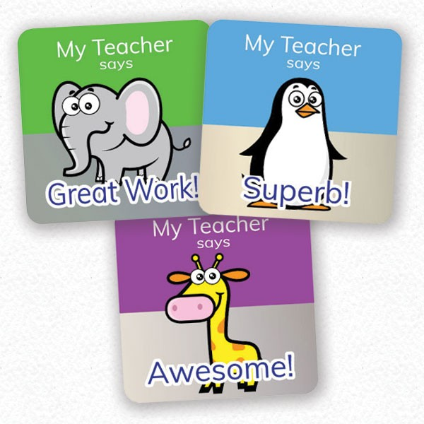 personalised square 25mm foil stickers zoo theme from Teacher Stickers