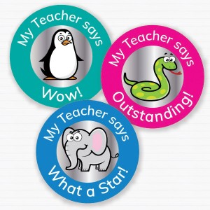 25mm Zoo theme personalised foil sticker preview from Teacher Stickers
