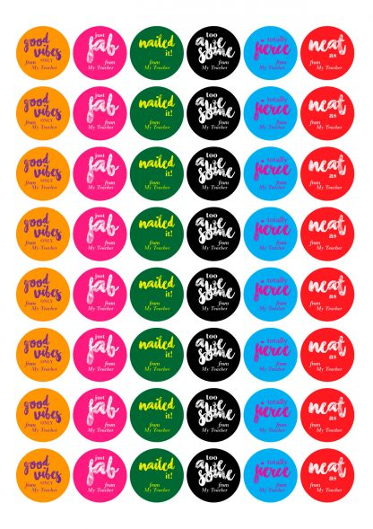 round cool slang stickers personalised name