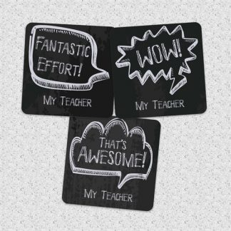 30mm chalkboard speech bubble stickers personalised name